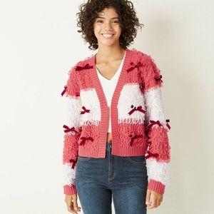Striped Red & White Bow Cardigan XL New with Tags